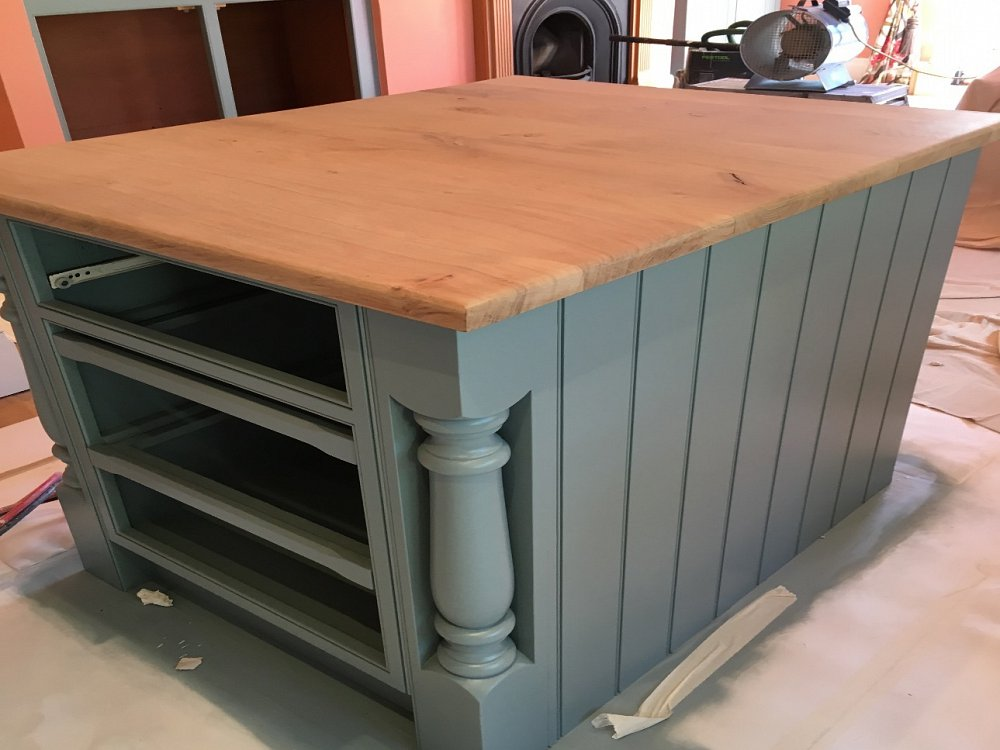 Island unit and in-frame kitchen repainted in Halifax
